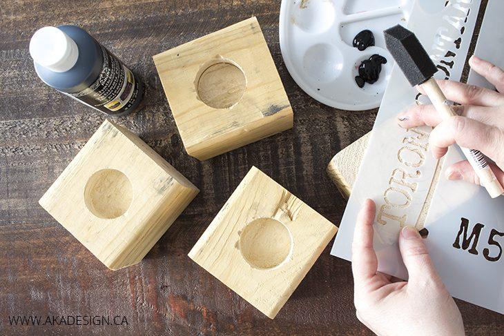 stencil wood blocks