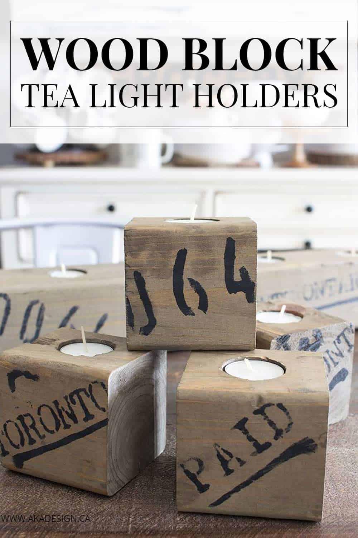 Wood Block Tea Light Holders – Rustic Industrial Farmhouse Style