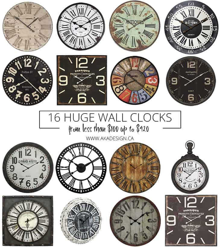 16 huge wall clocks