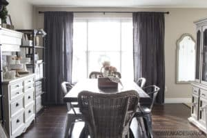 Dark Gray Laundered Belgian Linen Drapes for the Dining Room