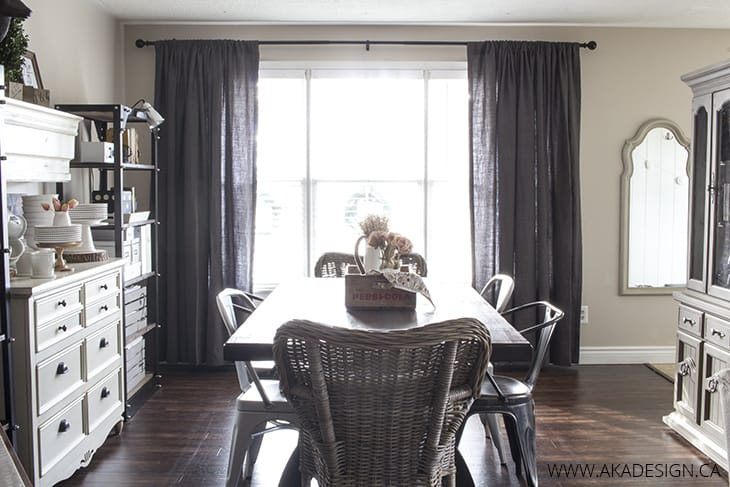 Home Made Lovely Dining Room Grey Drapery