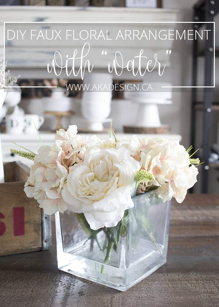 DIY faux floral arrangement with fake water