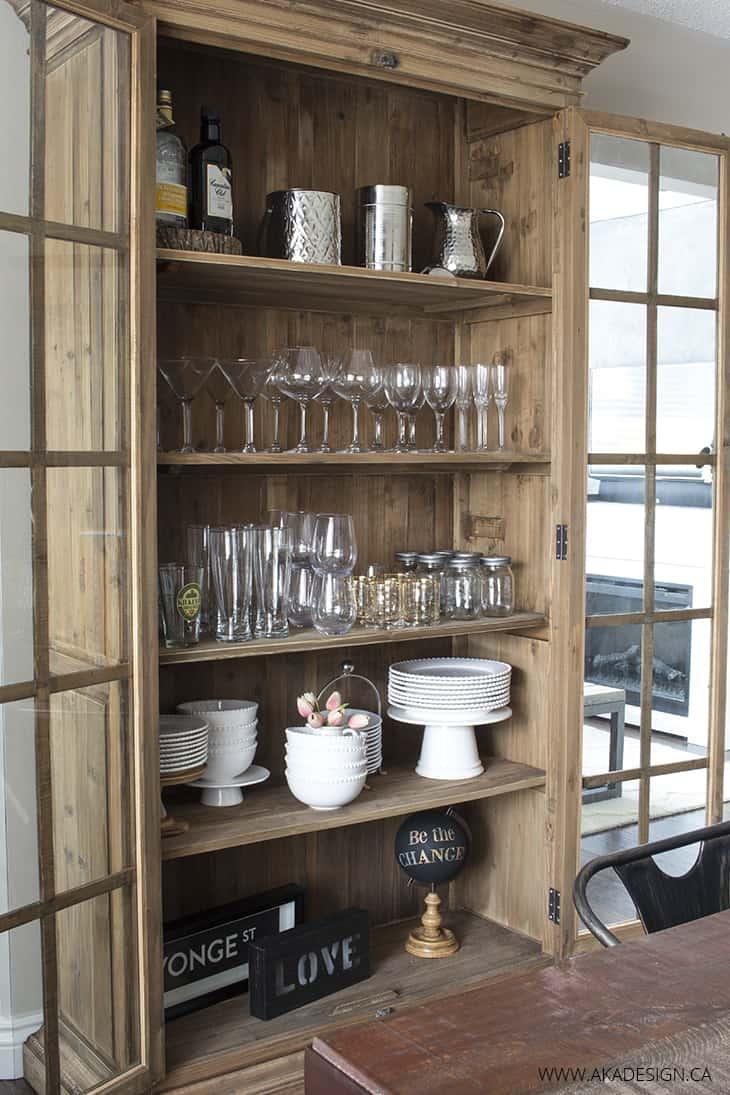 Glass door bookcase open