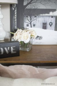fake hydrangeas and roses in vase