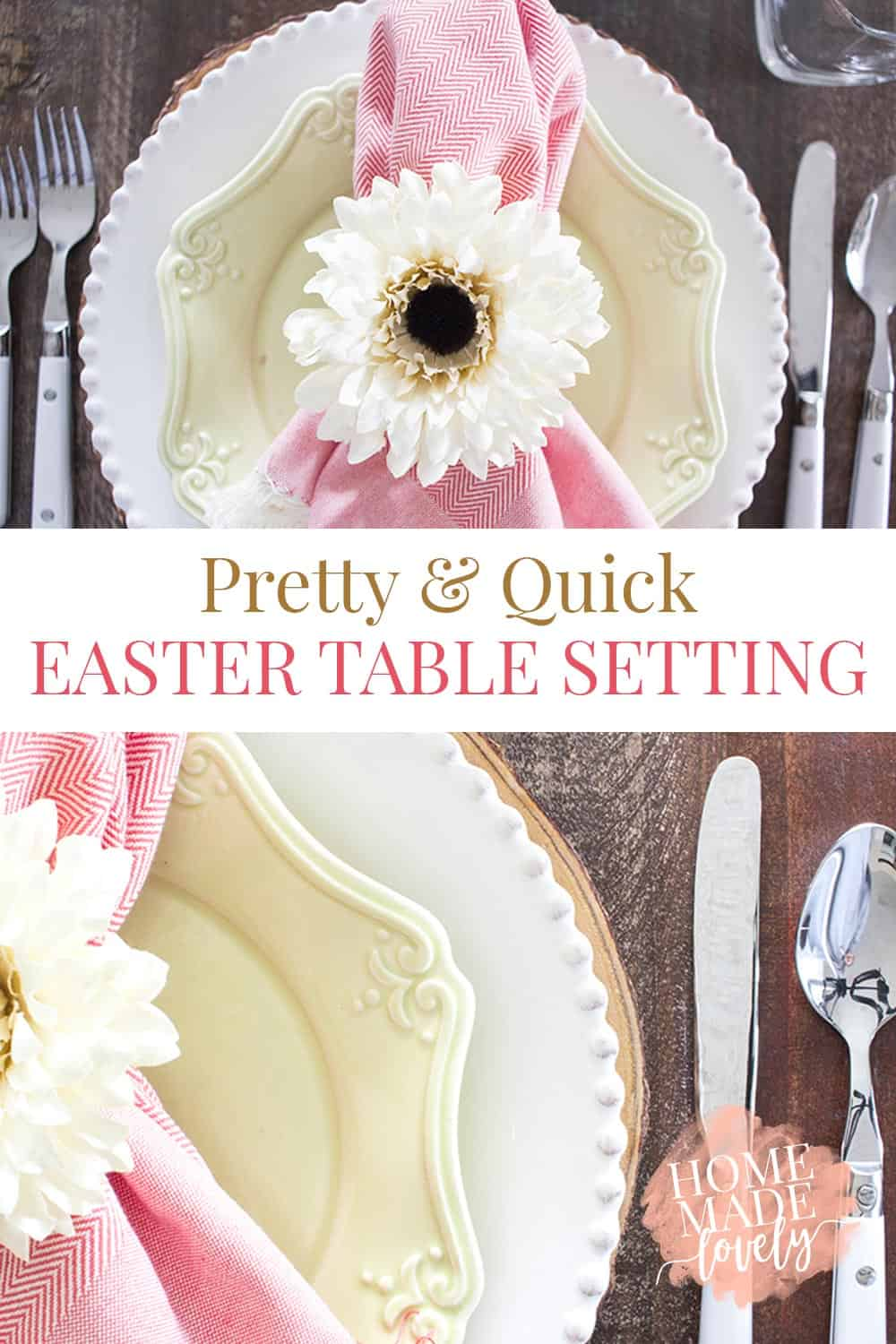 white and green plates, pink napkin, white flower napkin ring, pretty and quick easter table setting