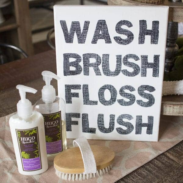 wash brush floss flush canvas