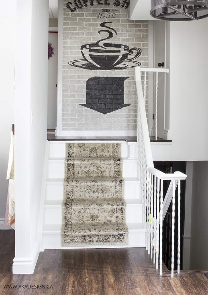 Painting stairs white and adding a distressed runner for Painted stairs with runner