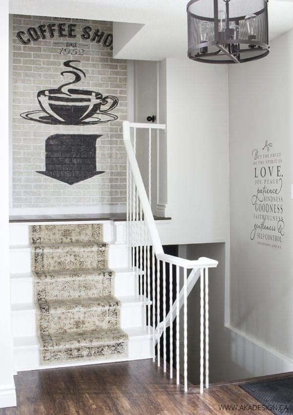 Painting Stairs White and Adding a Distressed Runner