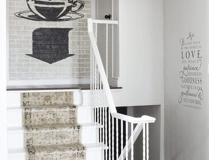 wood floor painted stairs brick wall scripture decal