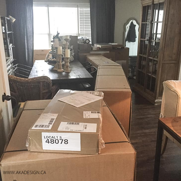 Ektorp sectional in boxes after delivery