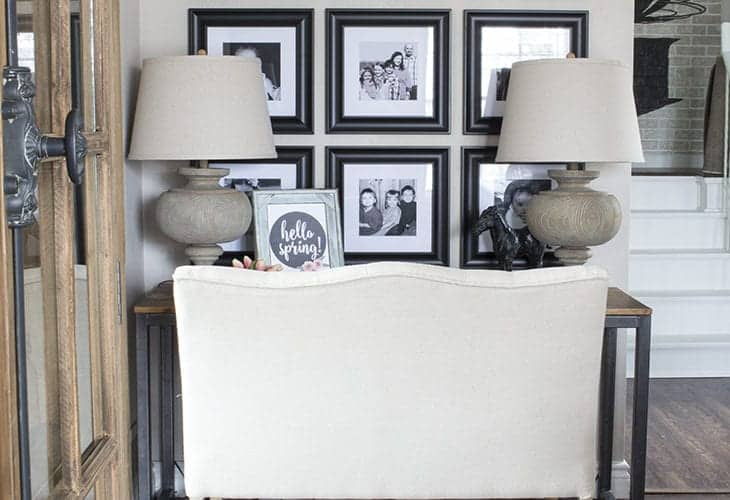 black and white photo gallery wall