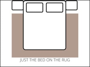 Area Rug Size Guide - bedroom just the bed on the rug
