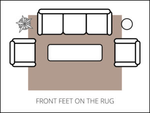 Area Rug Size Guide - living room front feet on the rug