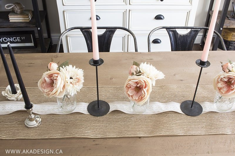 burlap and lace table runner and candlesticks