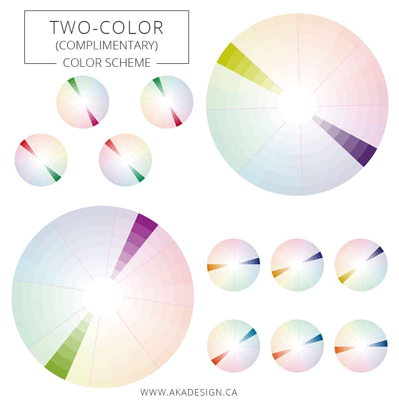 Two color complementary color scheme