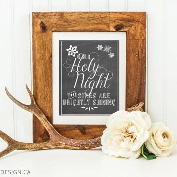 Oh Holy Night Chalkboard Framed