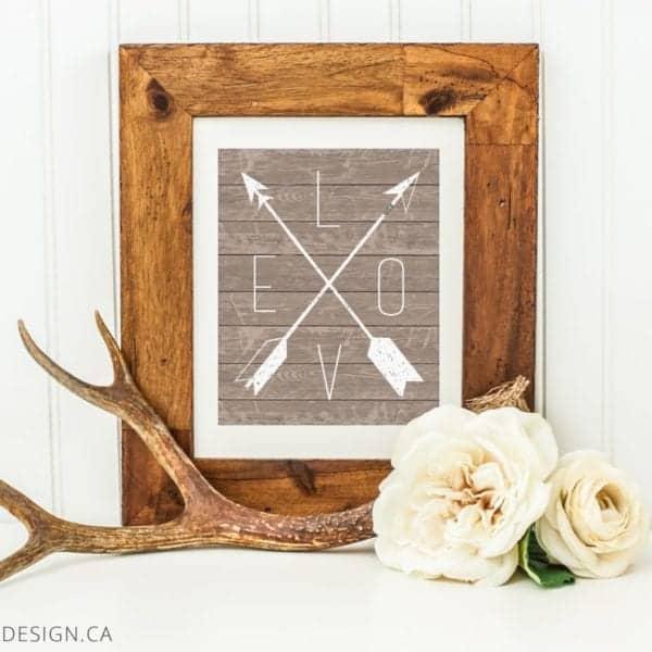 wood love arrows framed