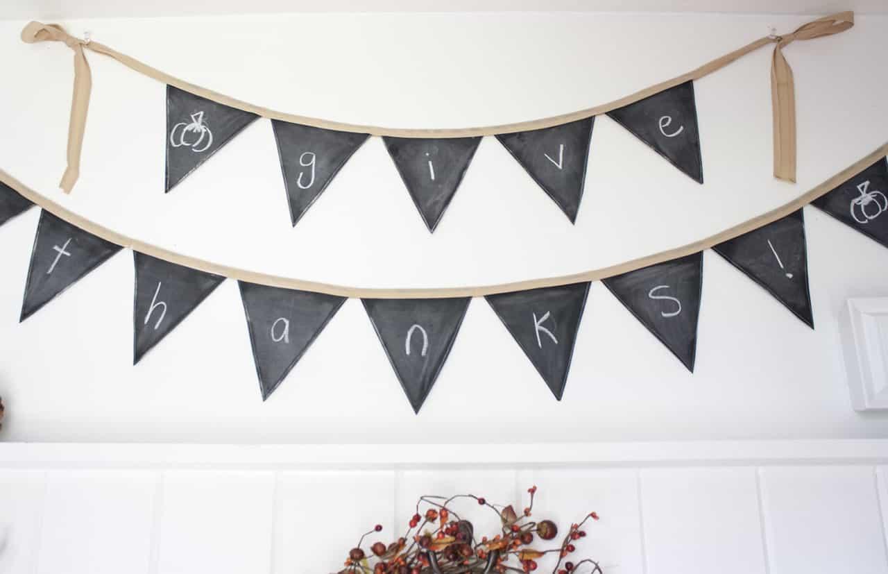 chalkboard pennant banner diy
