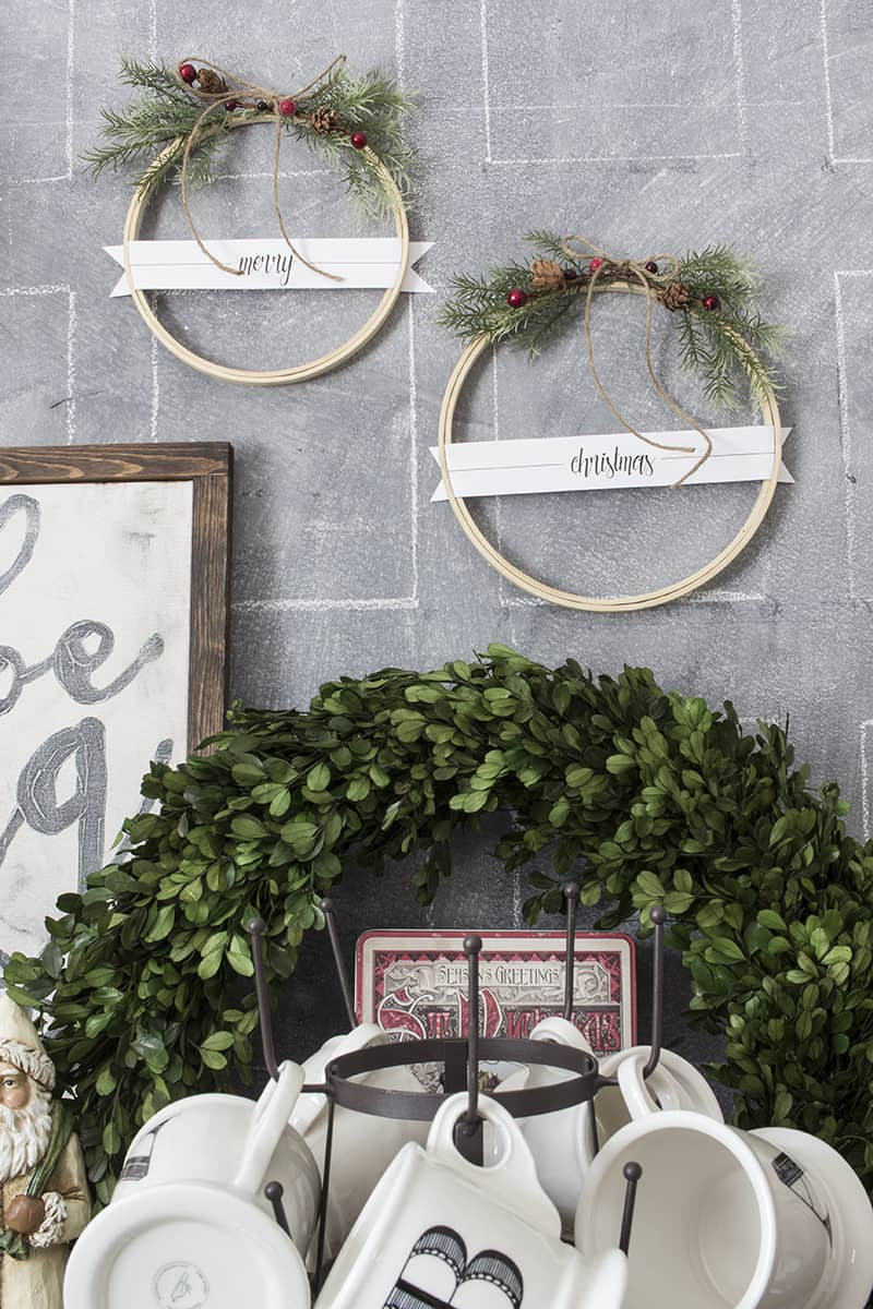 Diy merry christmas embroidery hoop wreath set with free