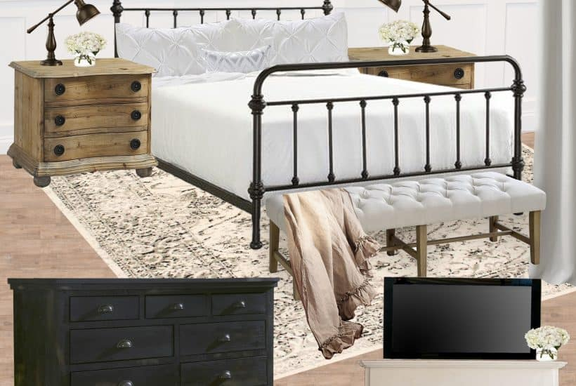 Black and White Farmhouse Bedroom Inspiration Style Board