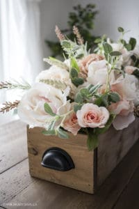 Micheals Floral Market flowers in wooden crate