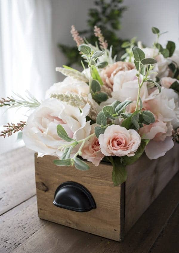 DIY Faux Floral Arrangement: Feminine Yet Rustic Crate