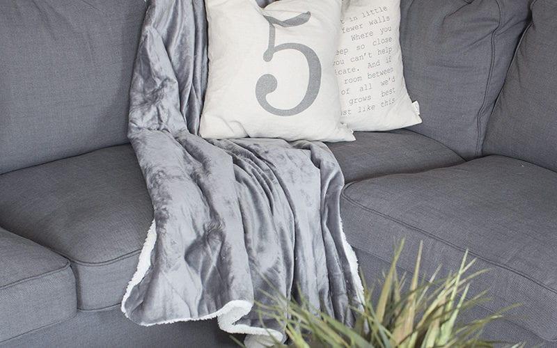 grey plush throw