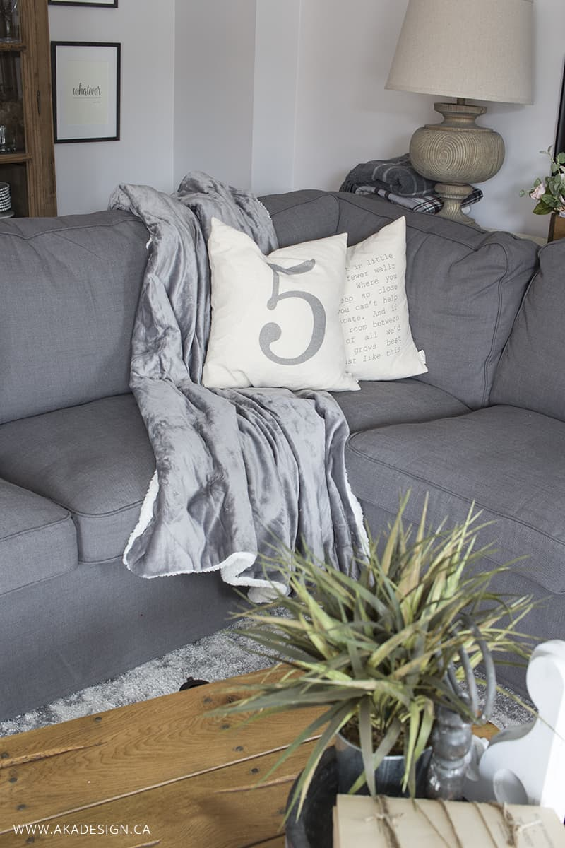 grey plush throw