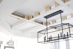 adding upside down baseboard to coffered ceiling