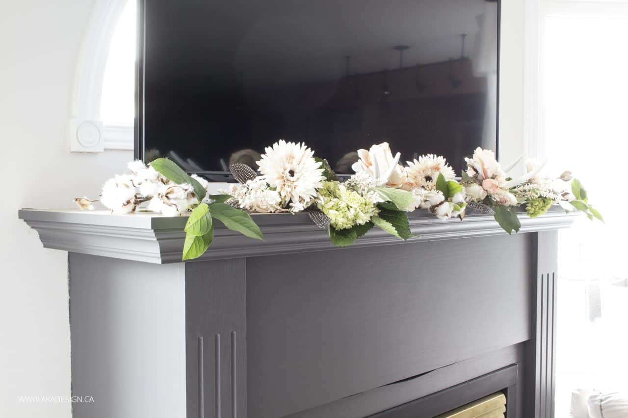 diy floral garland for fireplace mantel