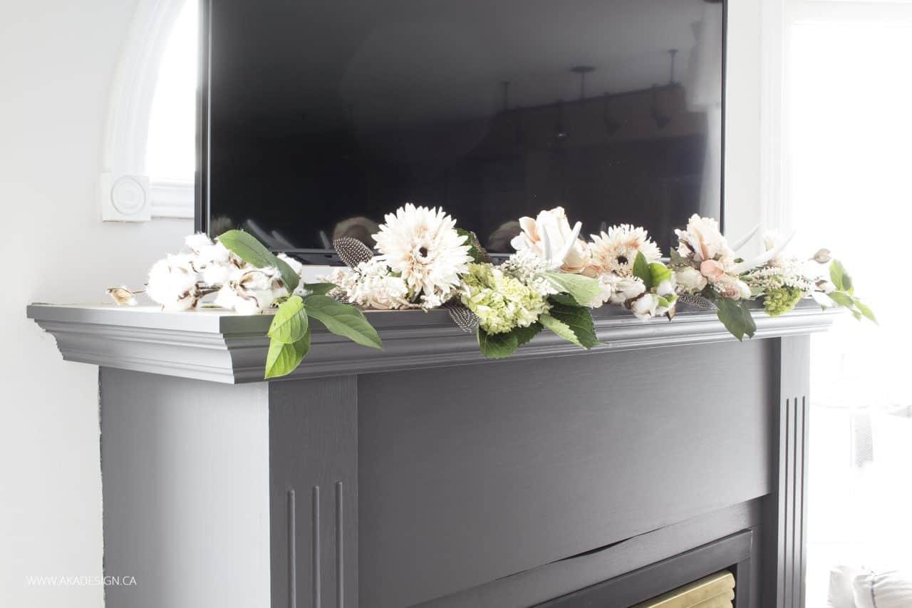 diy floral garland for fireplace mantel
