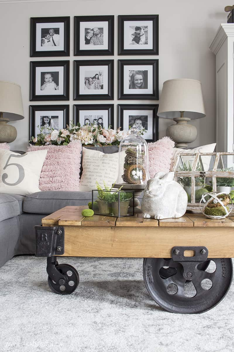 farmhouse industrial coffee table decorated for spring