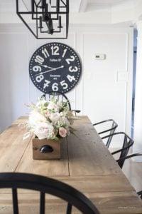 huge black wall clock dining room
