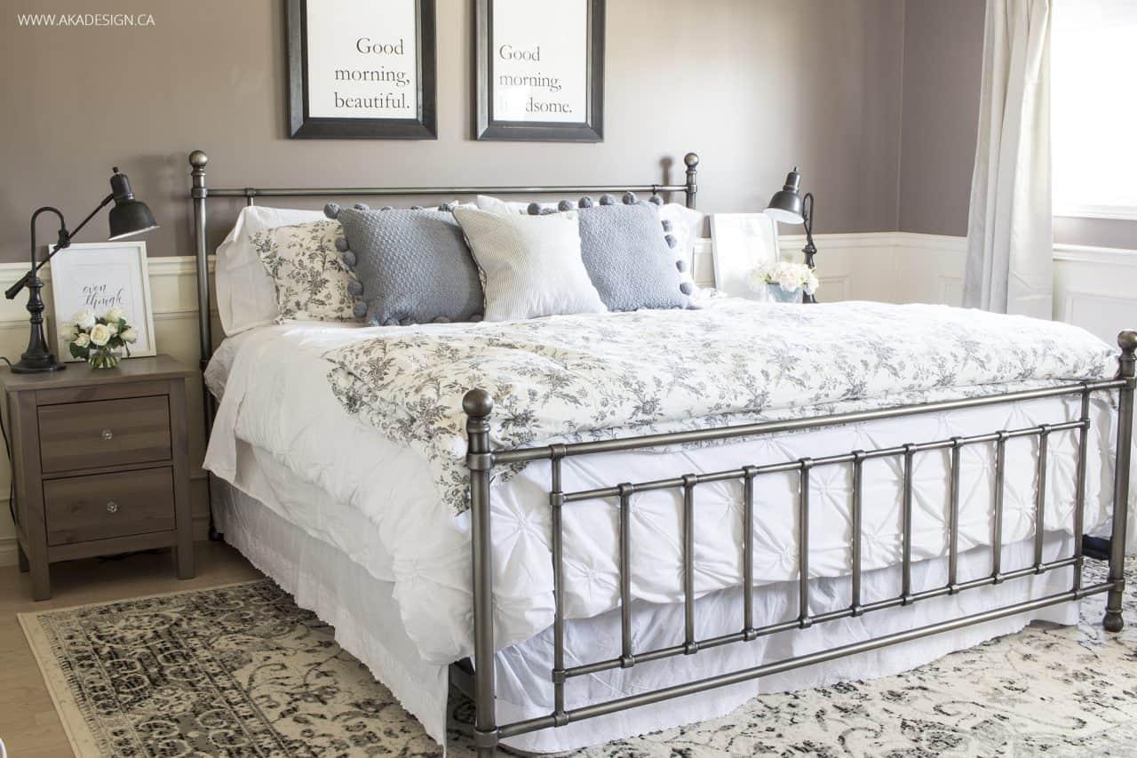 iron bed, white bedding