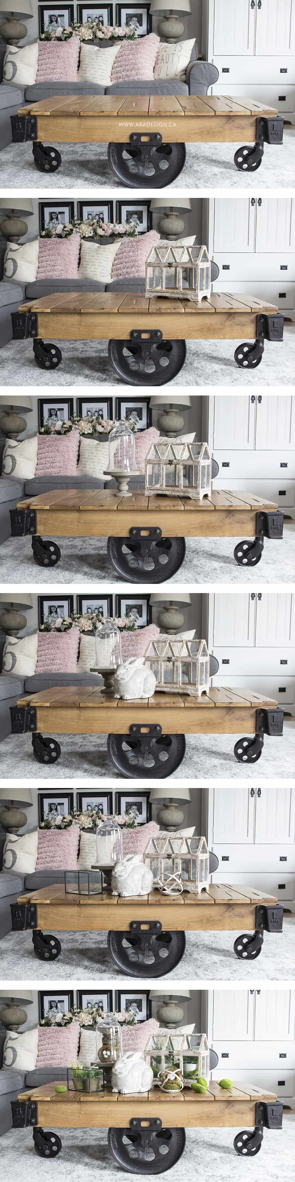 step by step coffee table vignette