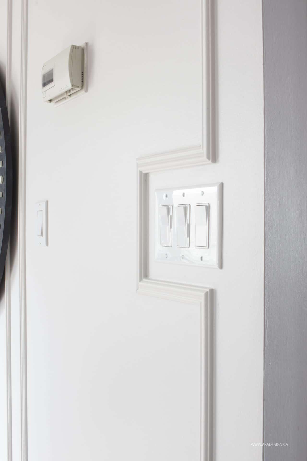 trim detail around light switch