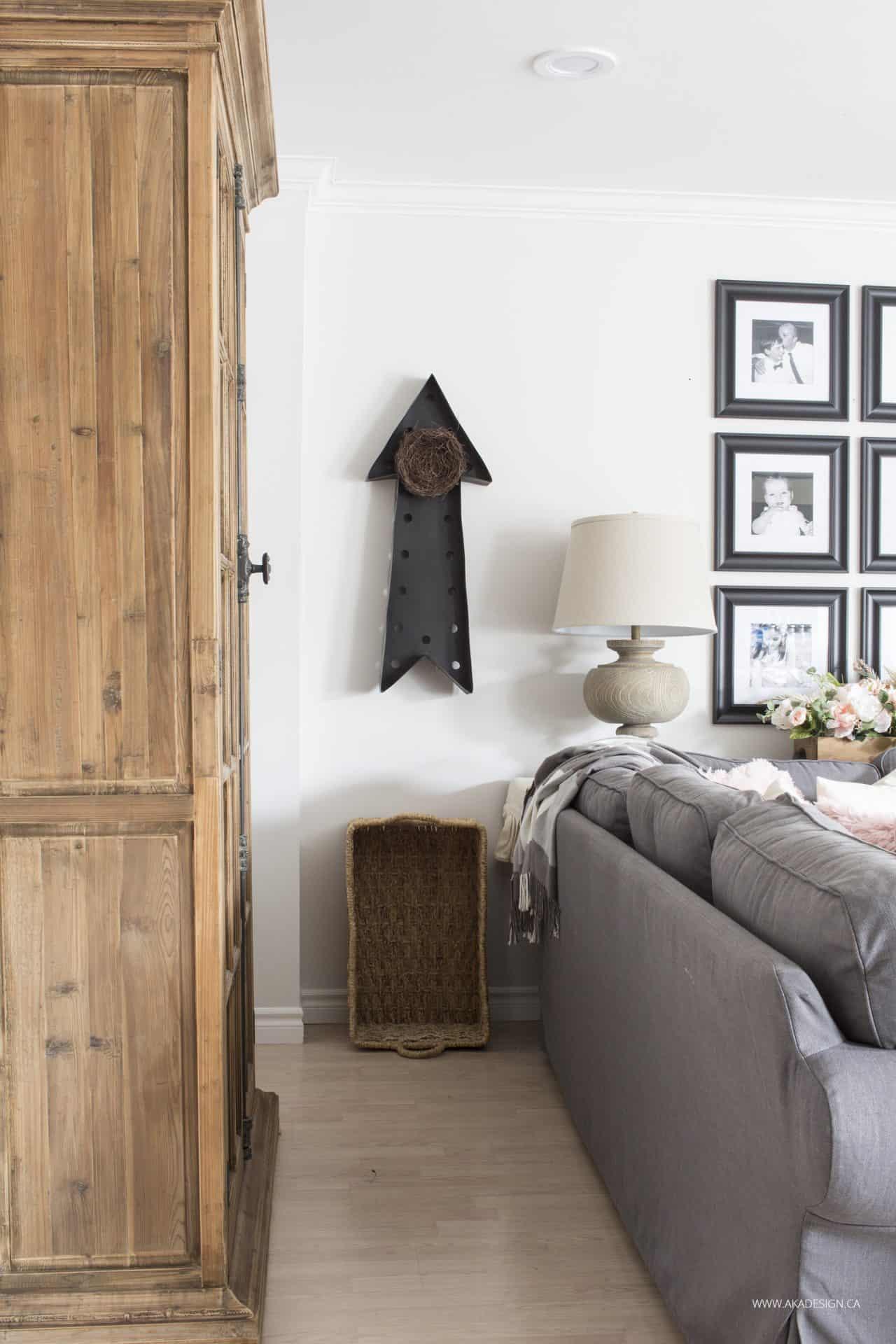 wood cabinet black marquee arrow