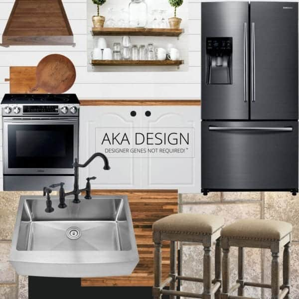 AKA Design - our modern farmhouse kitchen makeover style board