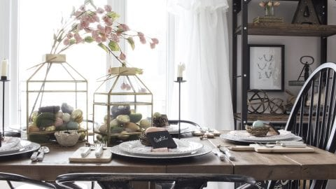 Farmhouse Easter Table Setting – with Gold Lanterns, Pink Flowers and Pastel Eggs