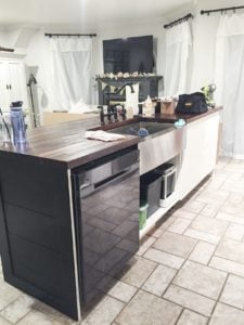 kitchen island and dishwasher