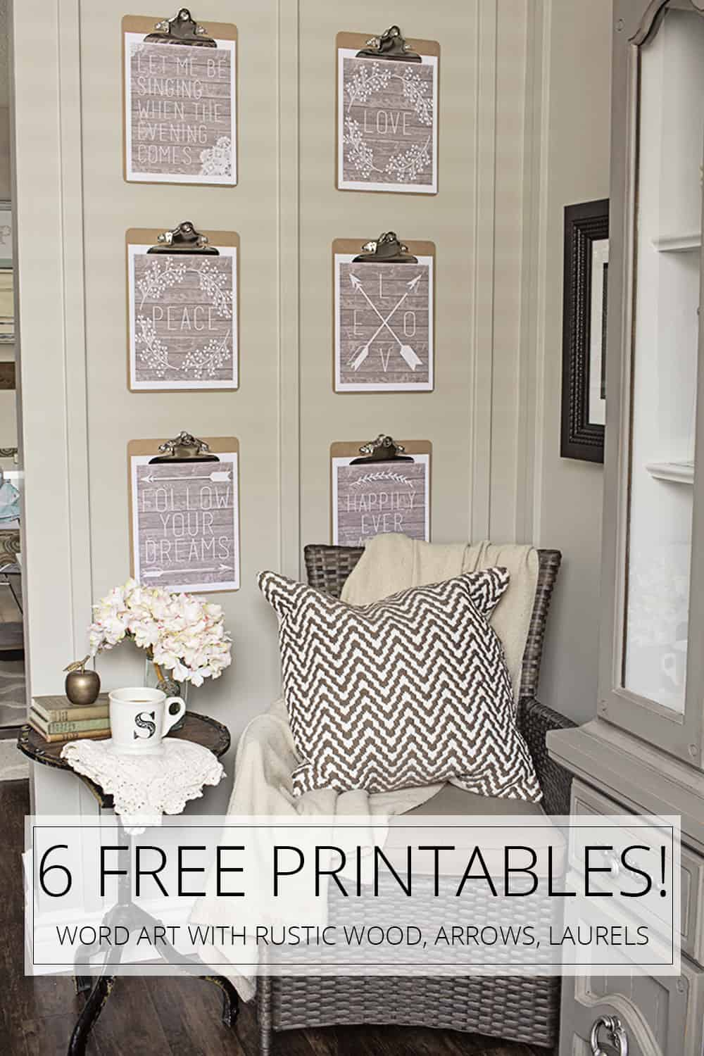 6 free printables word art with rustic wood, arrows and laurels