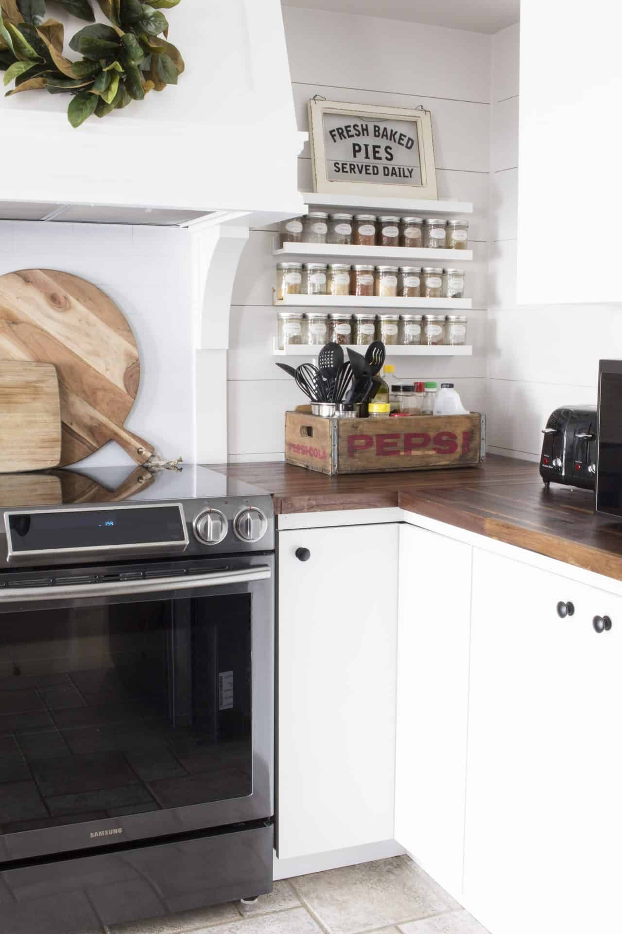 Ikea picture ledge as spice rack | pepsi crate kitchen storage