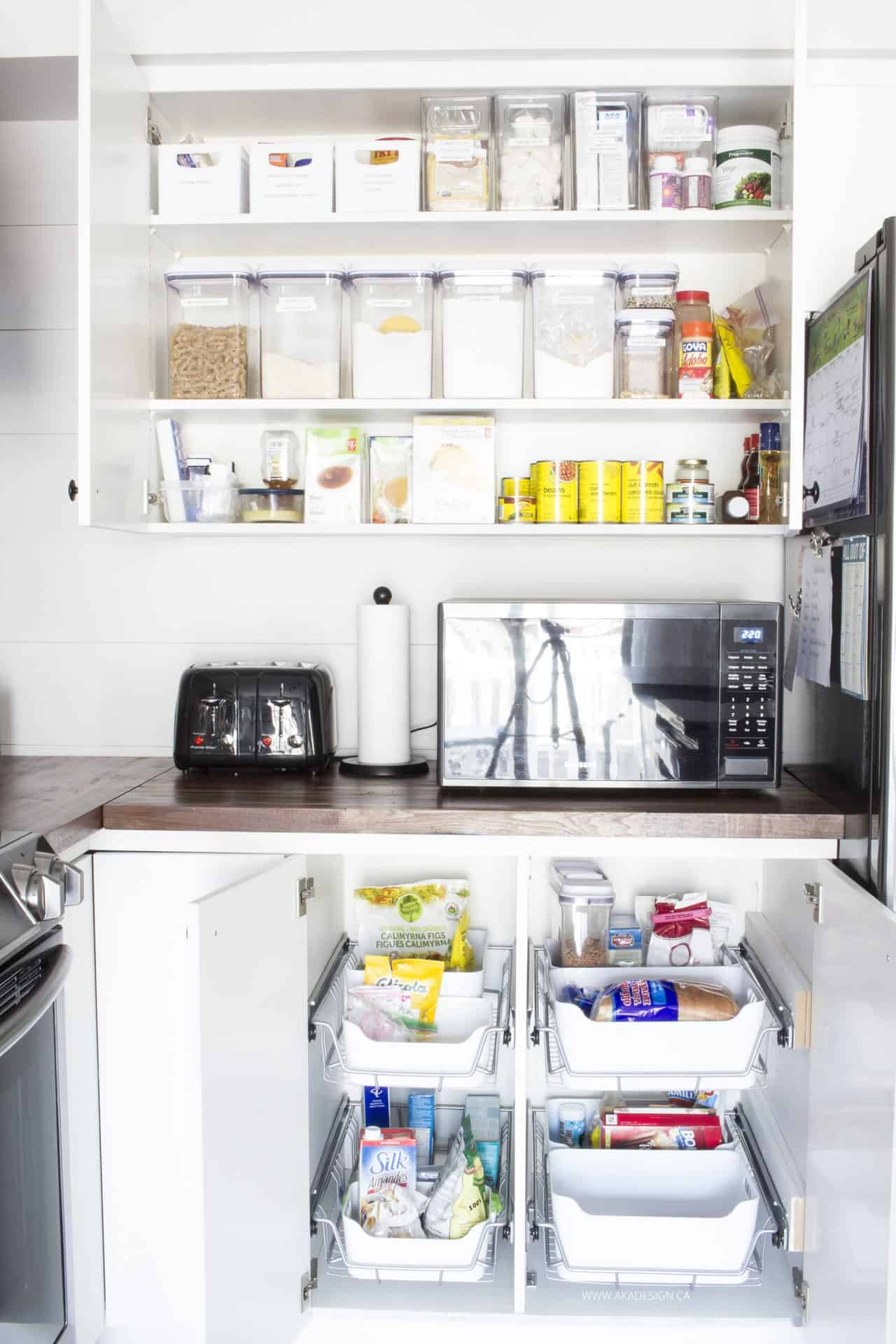 Organized pantry storage with no pantry