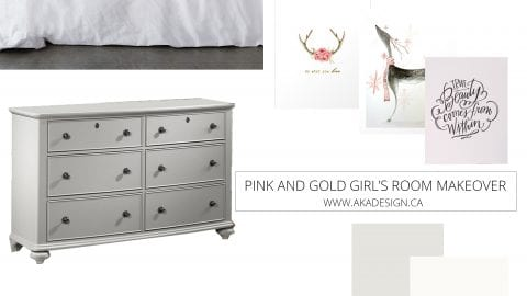 Pink and Gold Girl's Bedroom Makeover   Before Photos, Plans and Inspiration