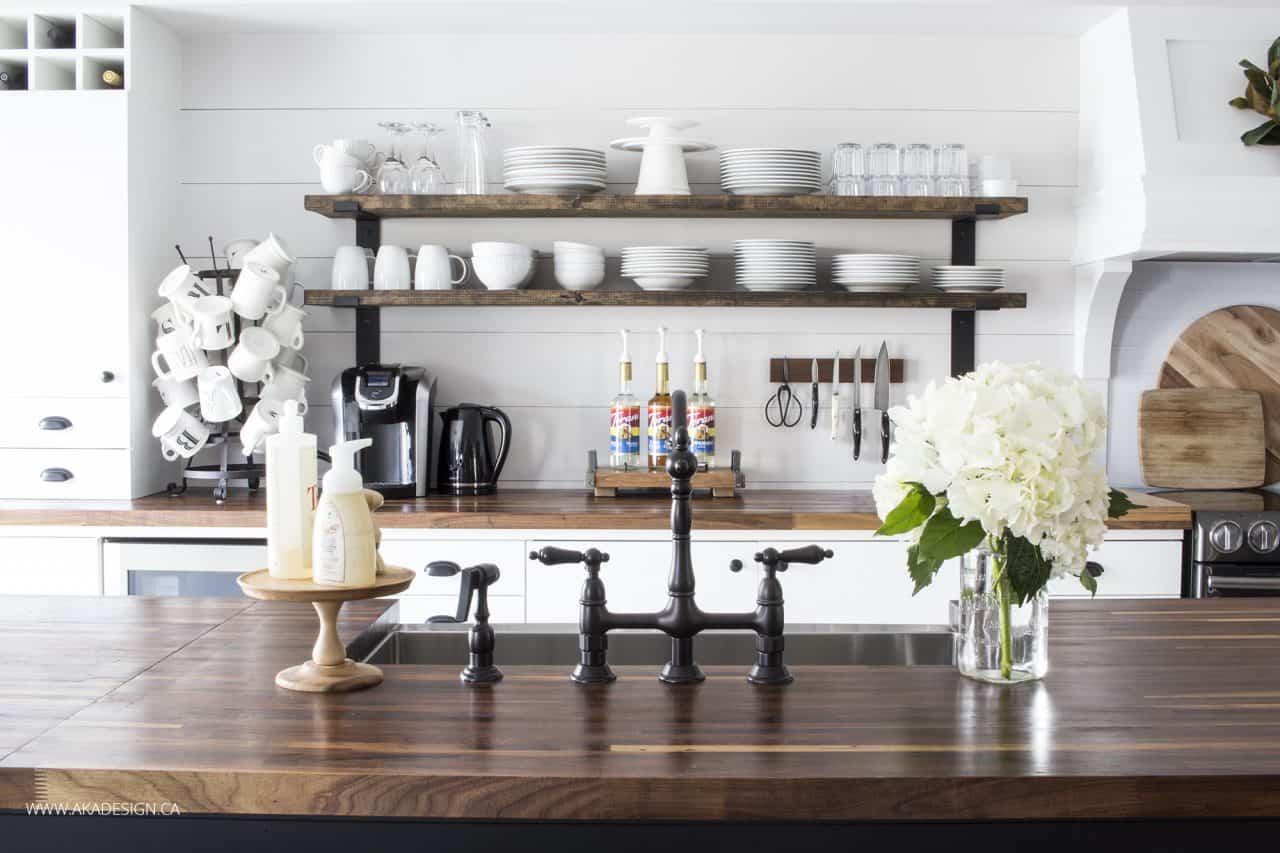 bridge faucet | open shelves | kitchen