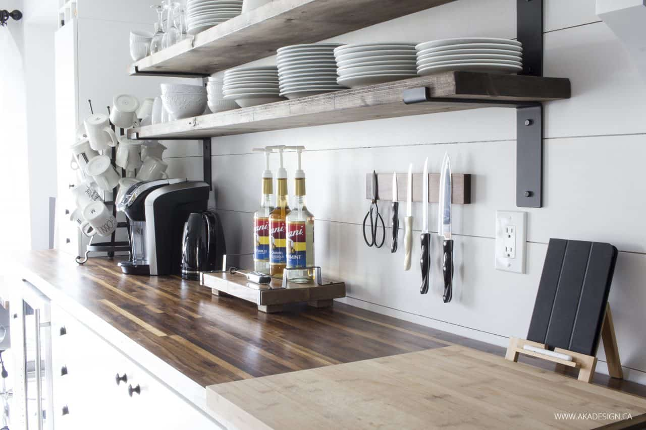 butcher block counter | shiplap backsplash | open shelves | magnetic knife block