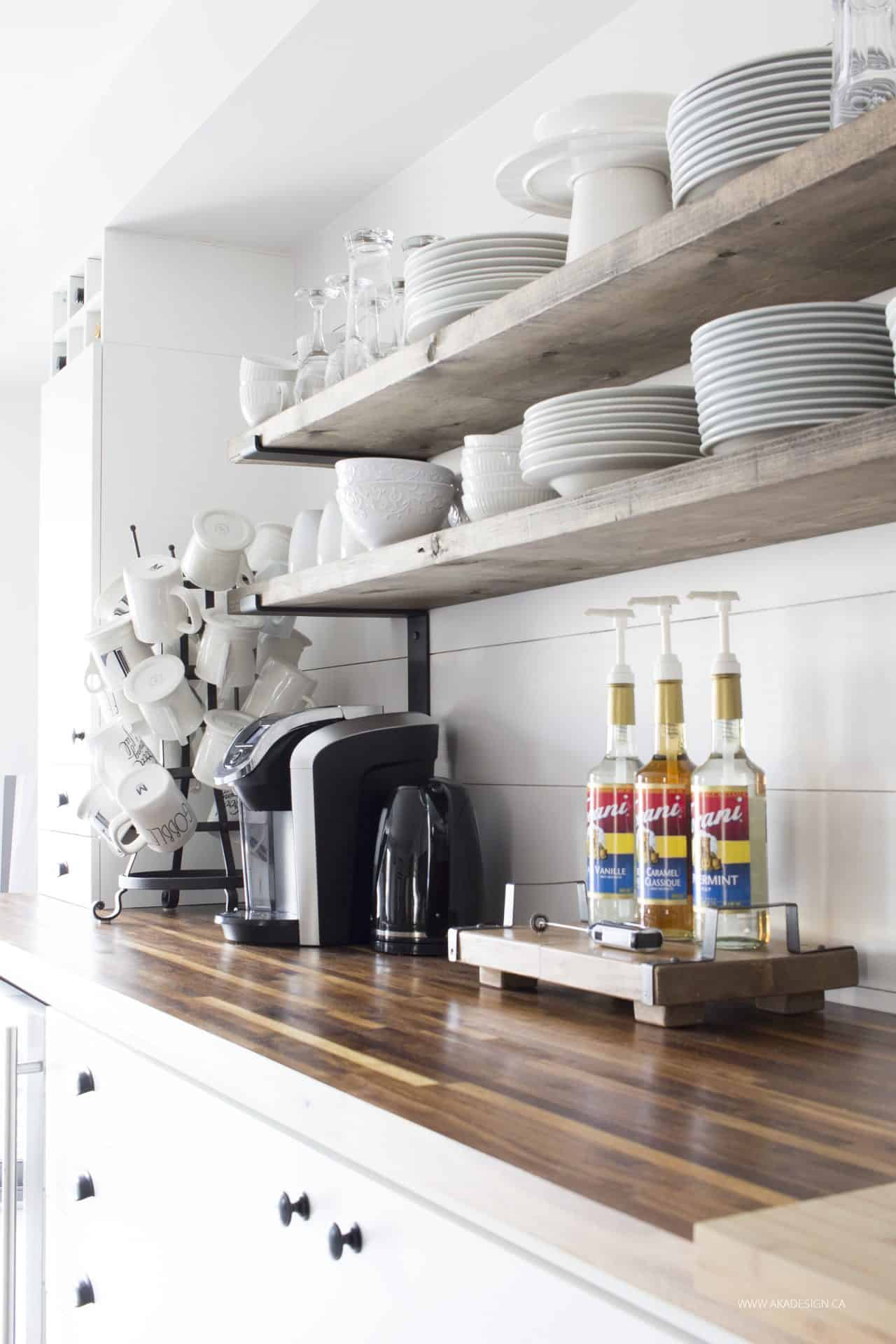 coffee bar | open shelves | mug tree | white dishes