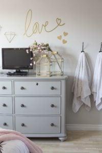 grey dresser gold love wall sticker