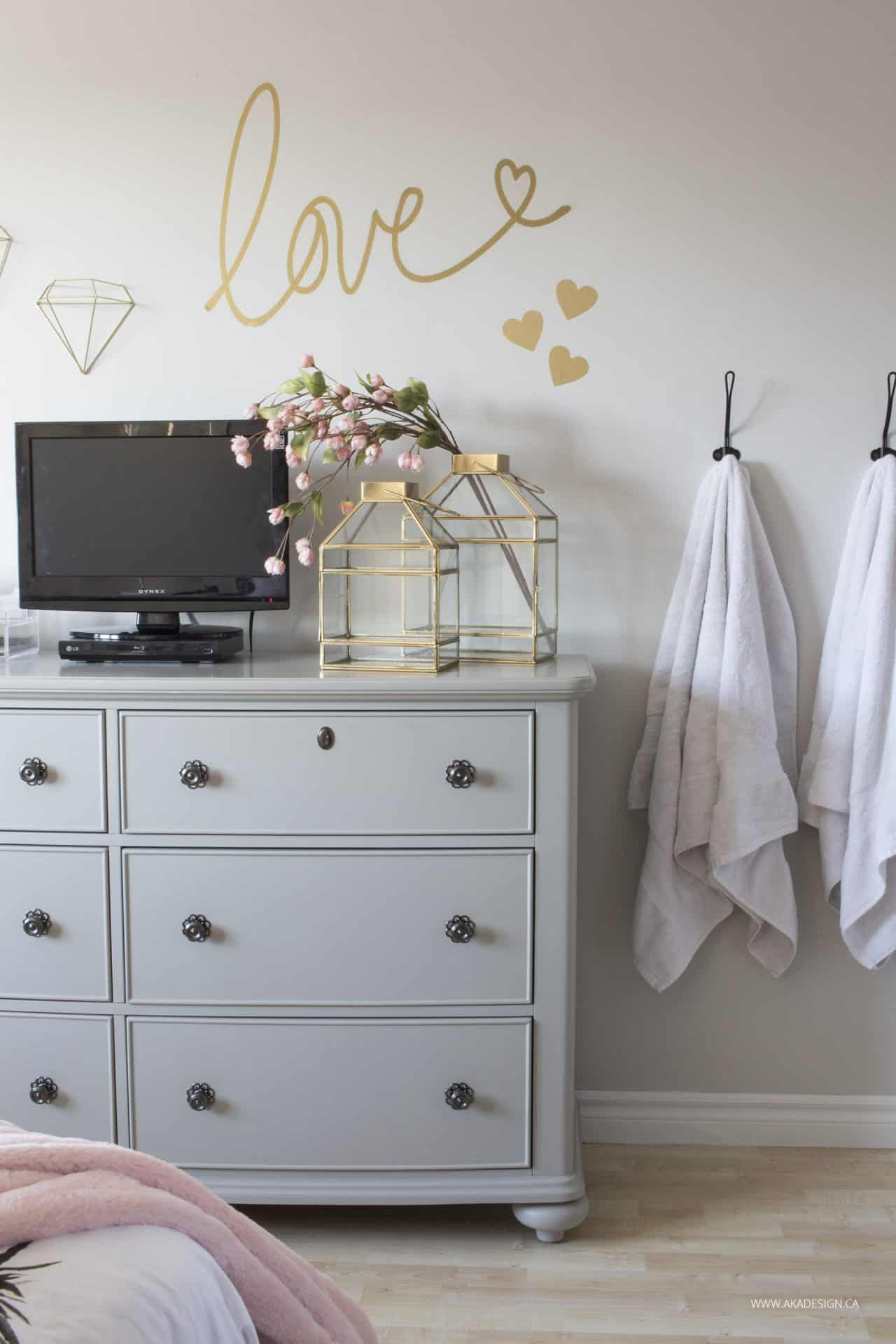 grey dresser gold love wall sticker