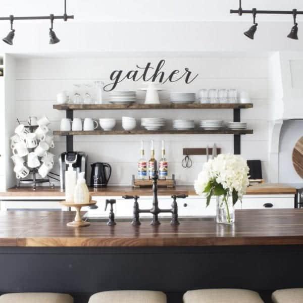 modern farmhouse kitchen gather sign